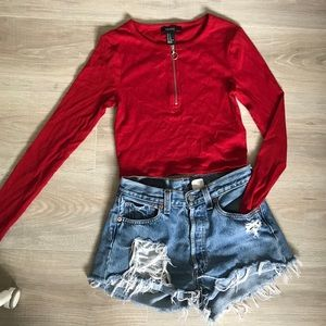 Red long sleeve crop top with zipper detail